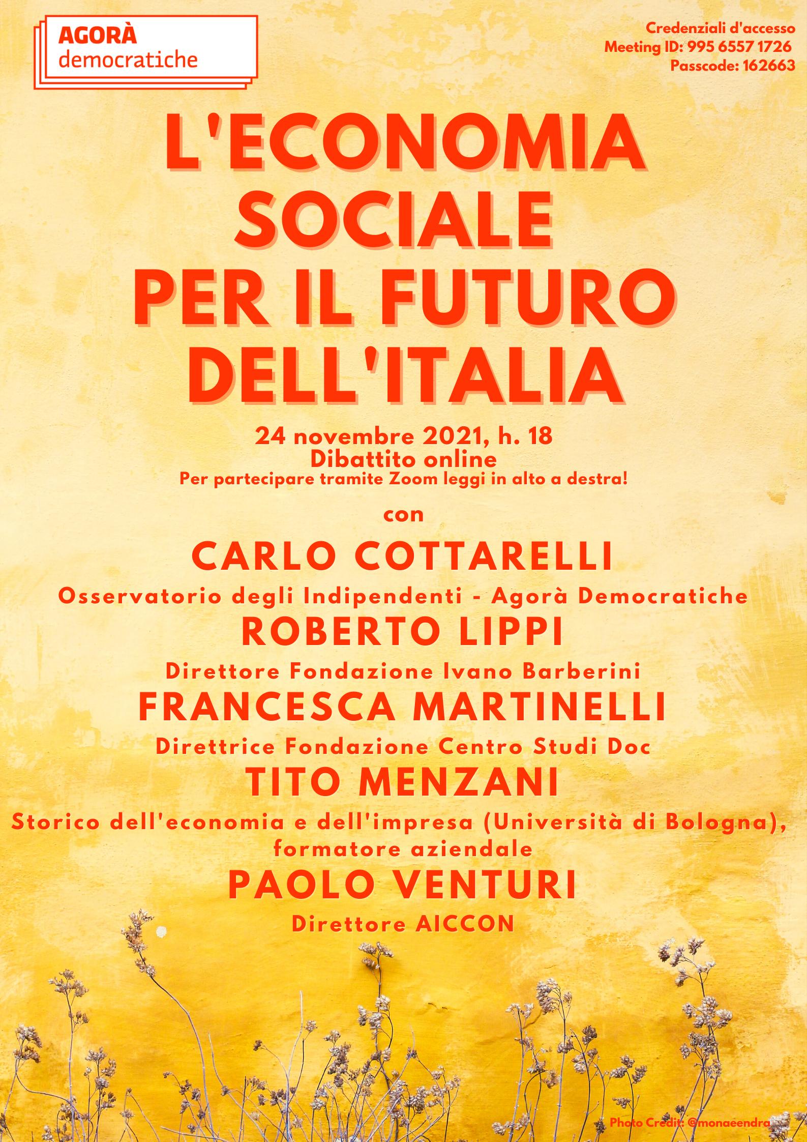 L'economia sociale per il futuro dell'Italia